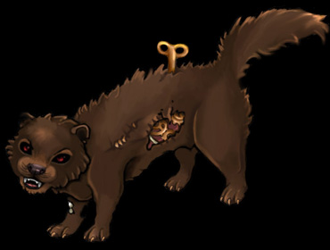 A weasel filled with clockwork, and a clock key sticking out of its back.
