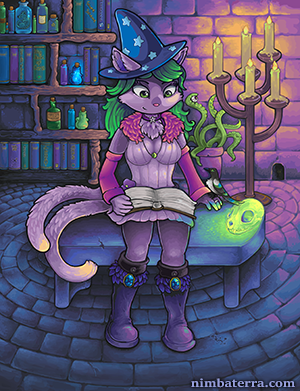 Alchemist Emerey the Cat in her Study by Tacoma