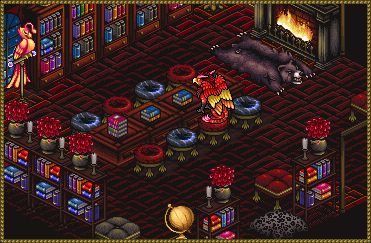 A gryphon studying in the middle of a crimson Library